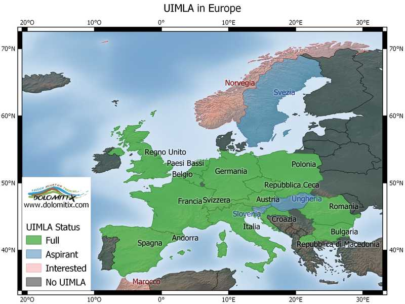 UIMLA nations in Europe